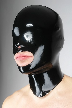 Black Latex Open Mouth Mask