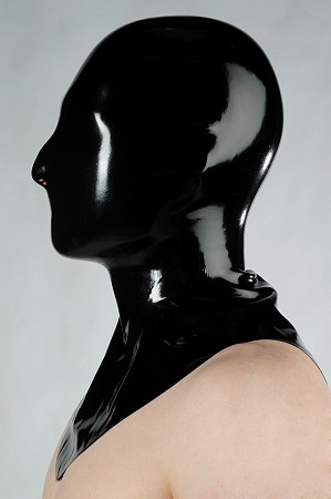 Black Latex Closed Mask w/ Collar
